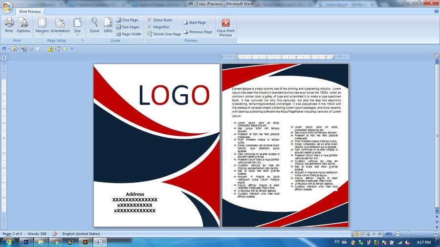 how to make a cover page on word