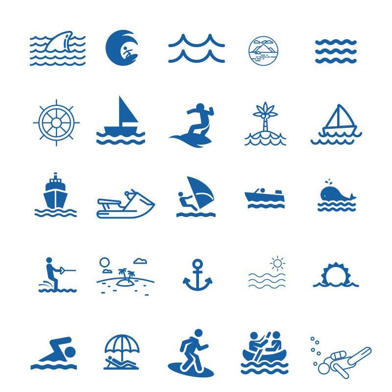 Proposition n°3 du concours Design Icon Set (Surf, Ocean, Coast Inspired)