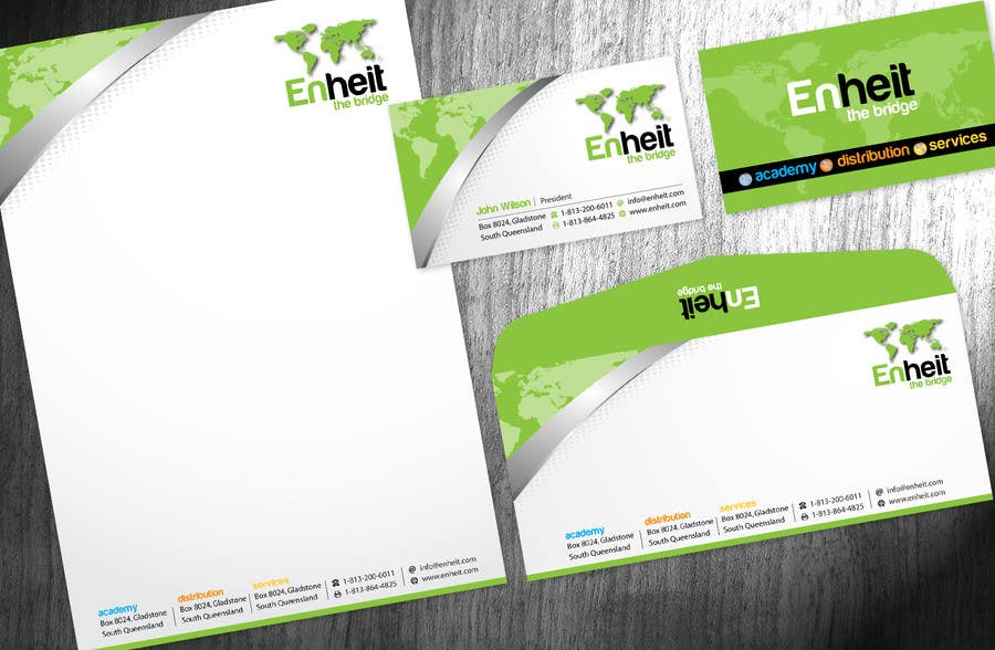 Bài tham dự cuộc thi #                                        29                                      cho                                         Letterhead, business card and envelop package design for Enheit