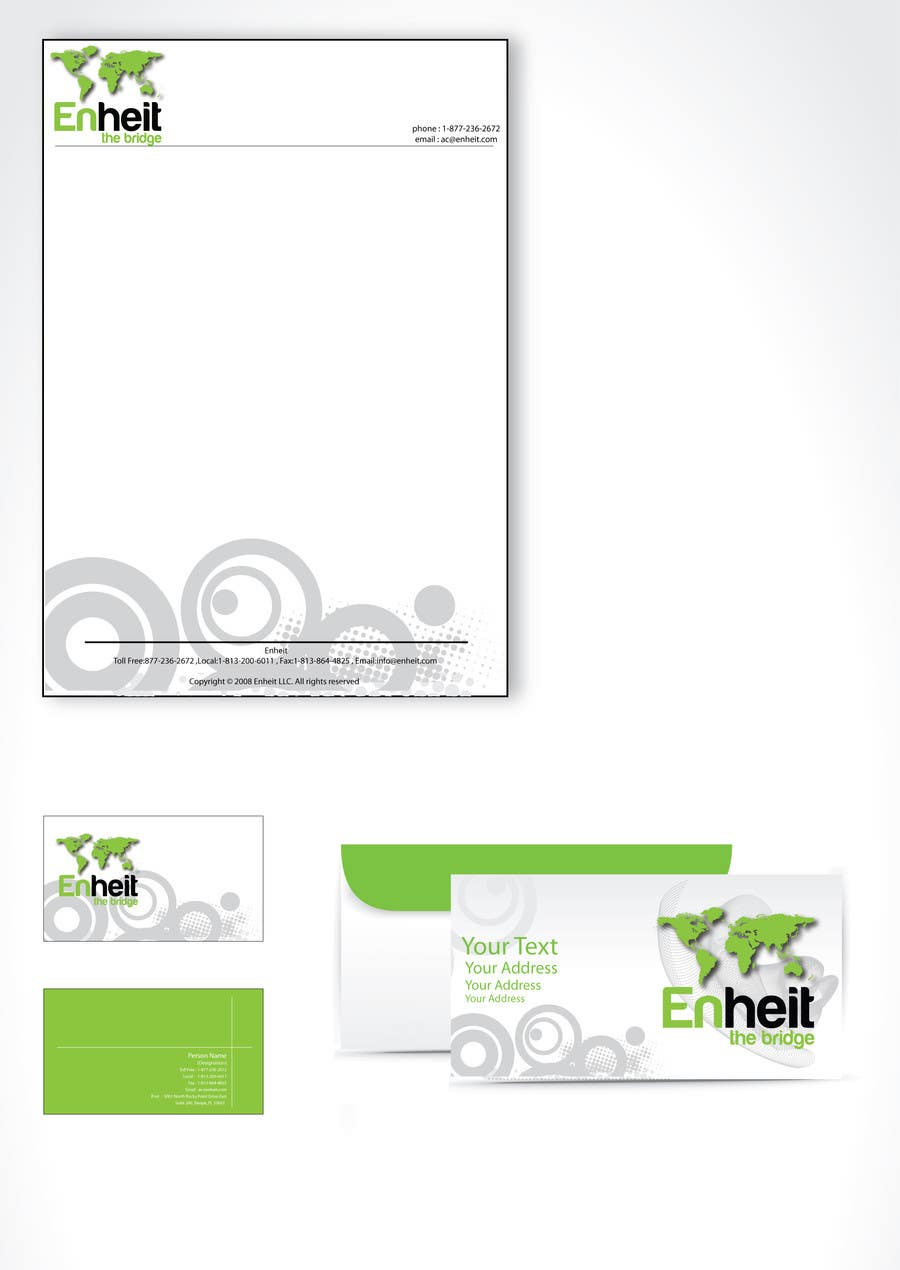 Proposition n°                                        7                                      du concours                                         Letterhead, business card and envelop package design for Enheit