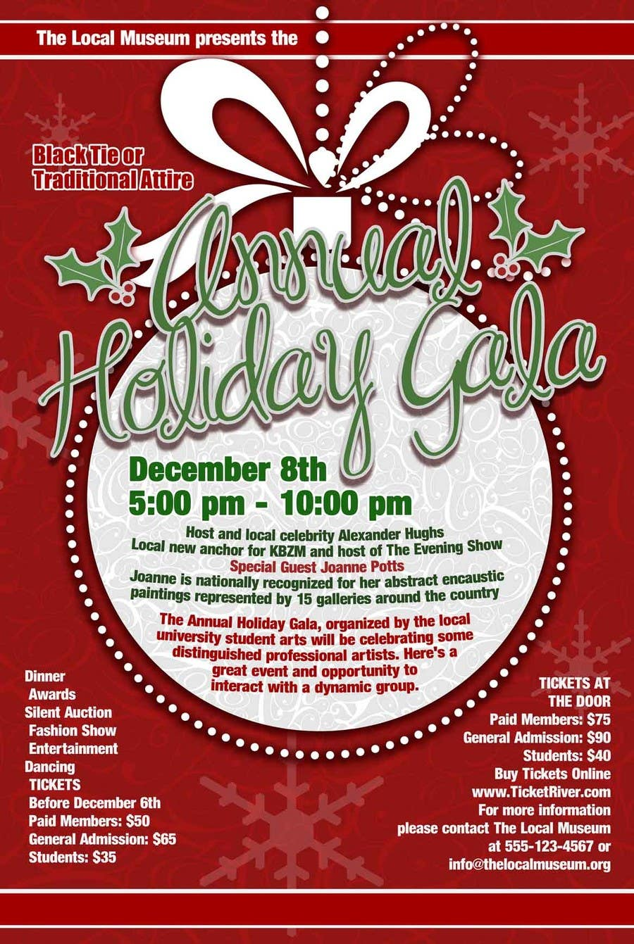 Contest Entry #                                        2                                      for                                         Print & Packaging Design for Full color, eye catching poster & event ticket for a HOLIDAY GALA