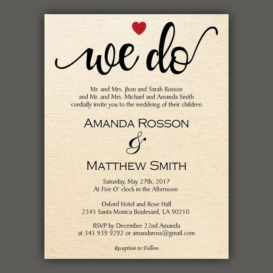 Proposition n°14 du concours Wedding Details Card