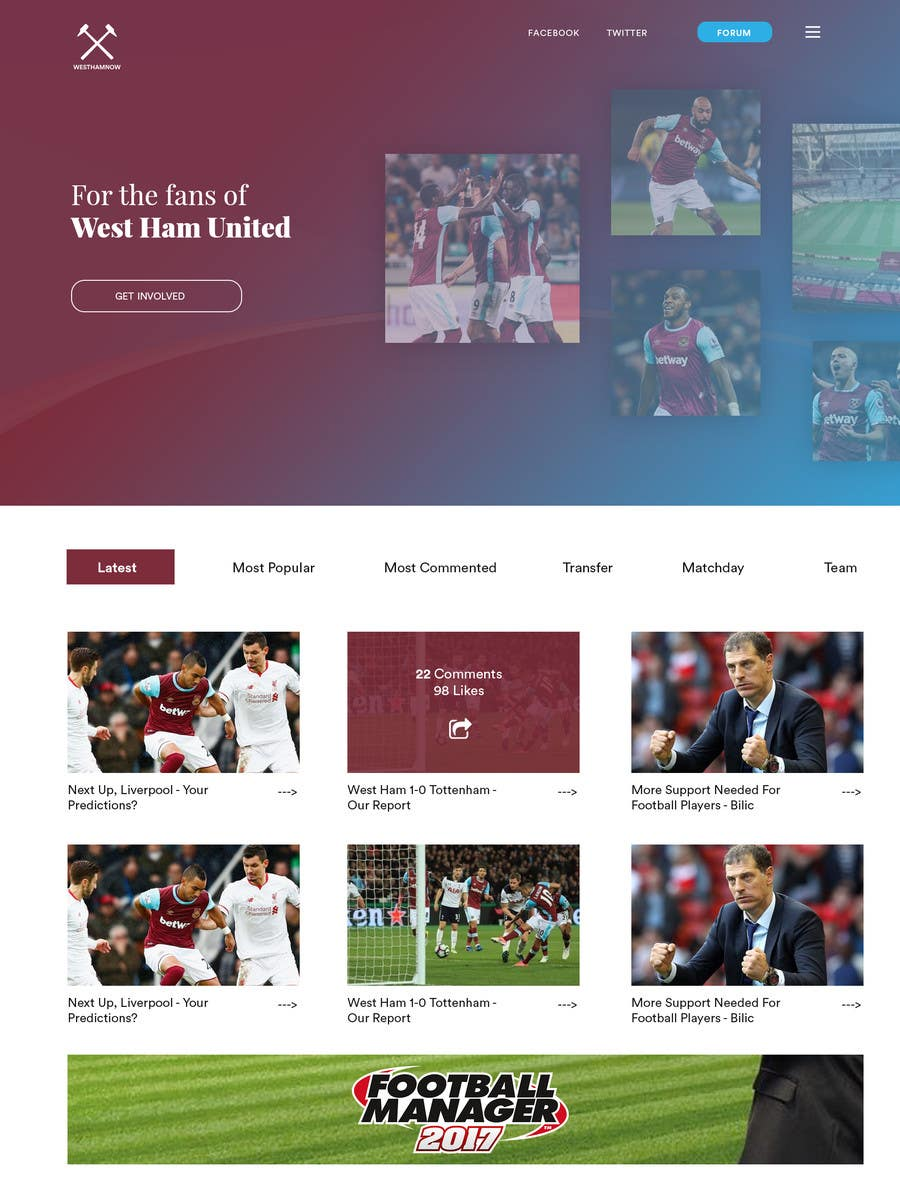 Proposition n°2 du concours Wordpress Football Blog (WESTHAMNOW)