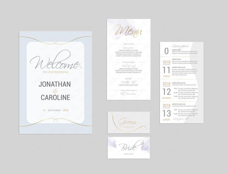 Proposition n°7 du concours Floral themed wedding invitation set
