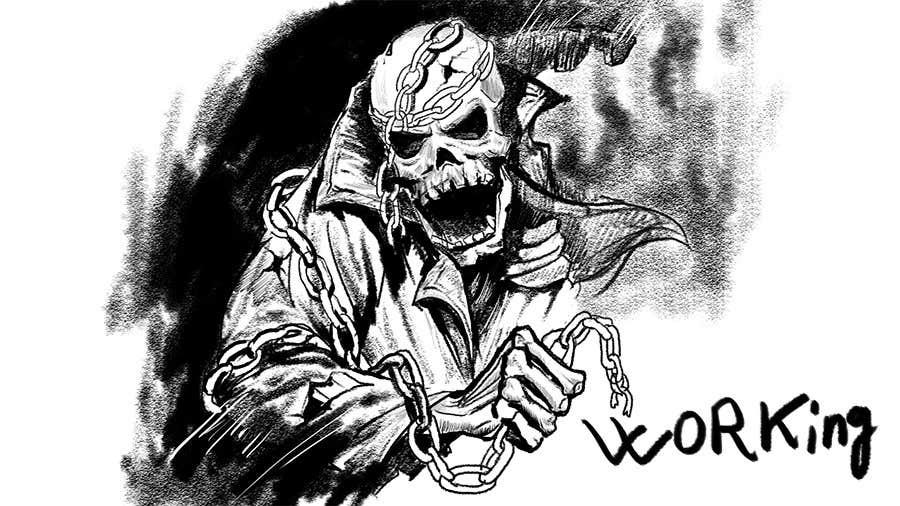 Kilpailutyö #                                        38                                      kilpailussa                                         Illustrate a Skull - Angry and Badass