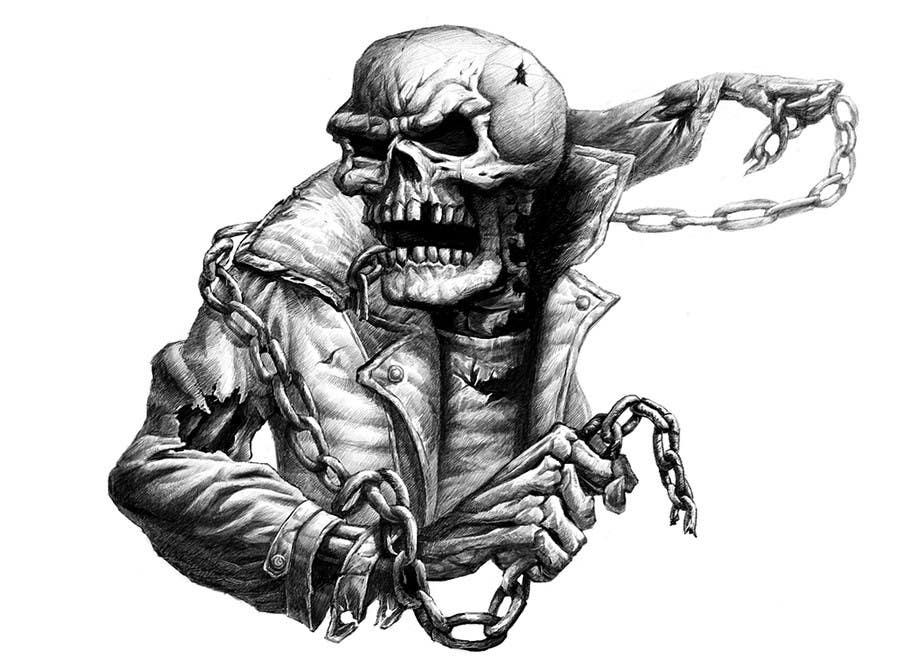 Kilpailutyö #                                        50                                      kilpailussa                                         Illustrate a Skull - Angry and Badass