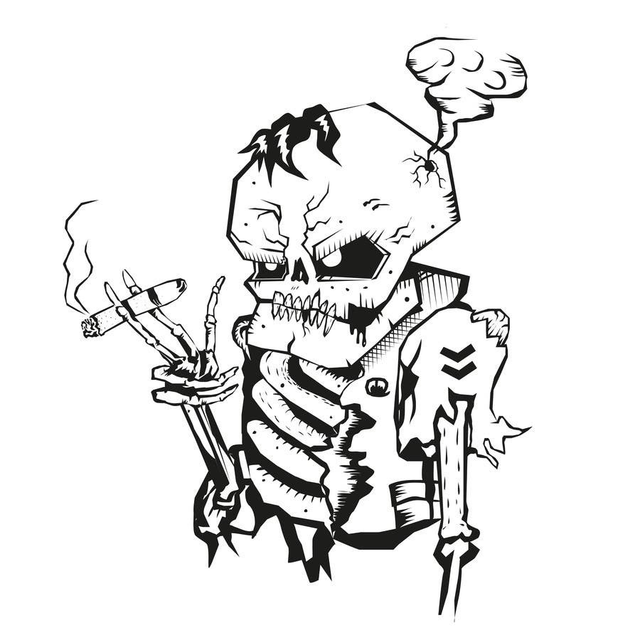Kilpailutyö #                                        33                                      kilpailussa                                         Illustrate a Skull - Angry and Badass