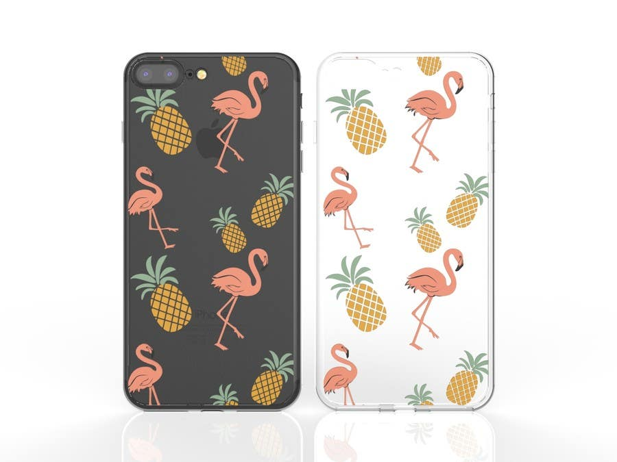Proposition n°4 du concours Flamingo and pineapple repeating pattern for a phone case.