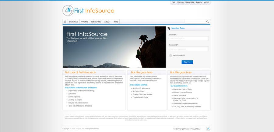 Contest Entry #                                        59                                      for                                         Website Design for First InfoSource