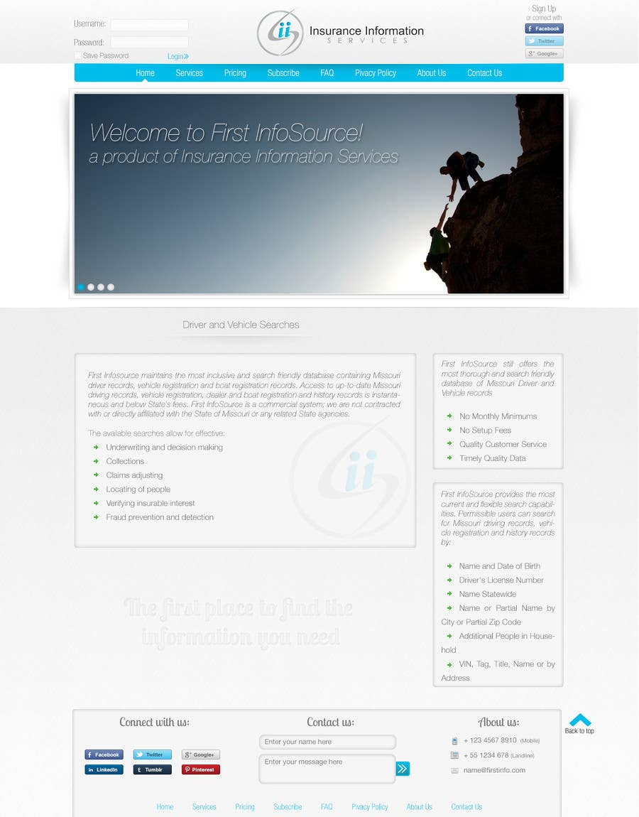 Contest Entry #                                        5                                      for                                         Website Design for First InfoSource