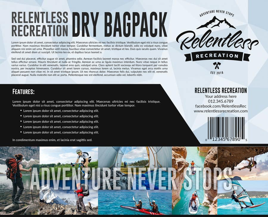 Proposition n°5 du concours Give us your best insert card designs! Relentless Recreation Dry Bag Backpack