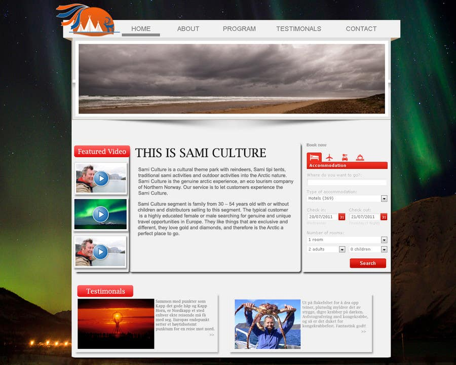 Contest Entry #                                        46                                      for                                         Website Design for Sami Culture (Joomla!)