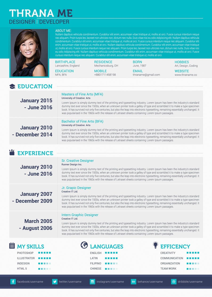 Proposition n°7 du concours Well designed Resume with a clean. minimalistic and zen feel