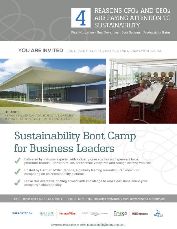 #32 for Business Sustainability Boot Camp - 1 page digital flyer by mycreativestorm