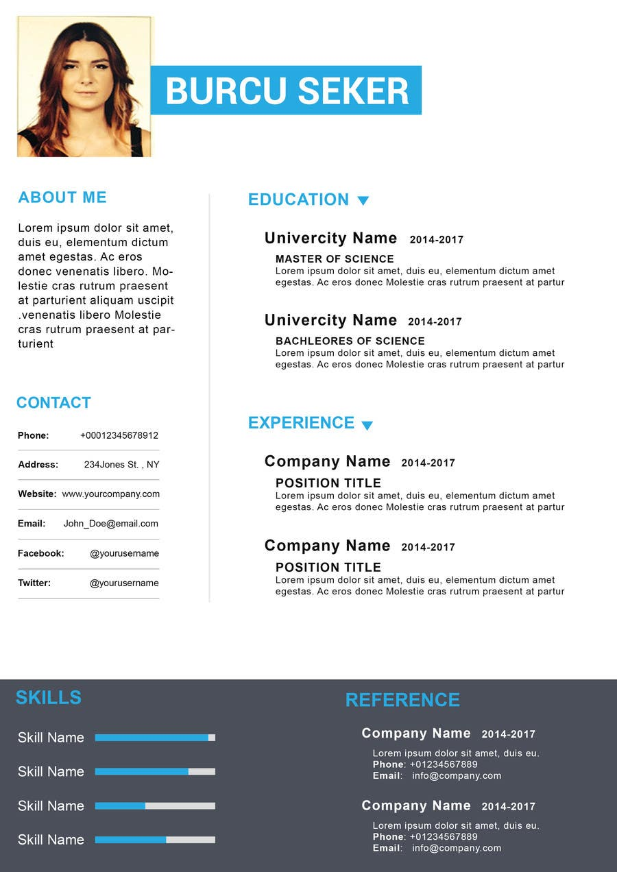 Proposition n°23 du concours I need someone to deign an easily editable resume