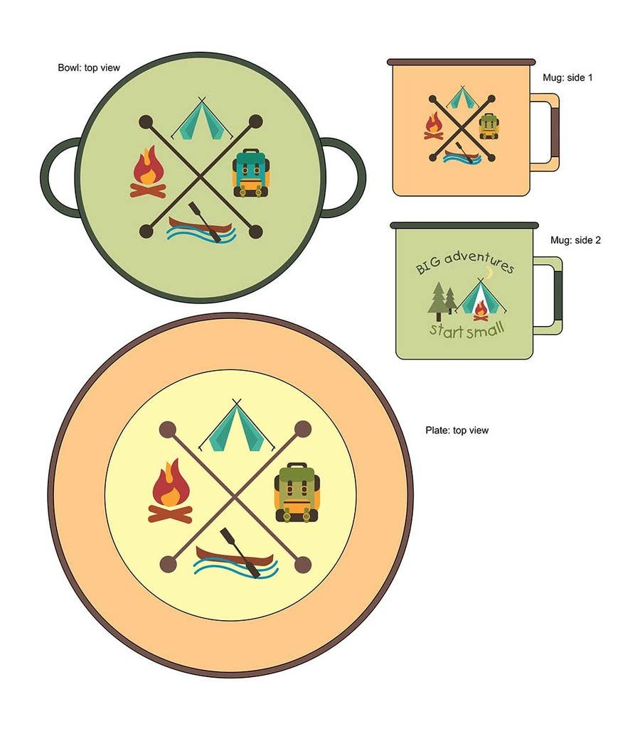 Proposition n°8 du concours Timber and Tamber children's camping and outdoor wear - enamel dinner set