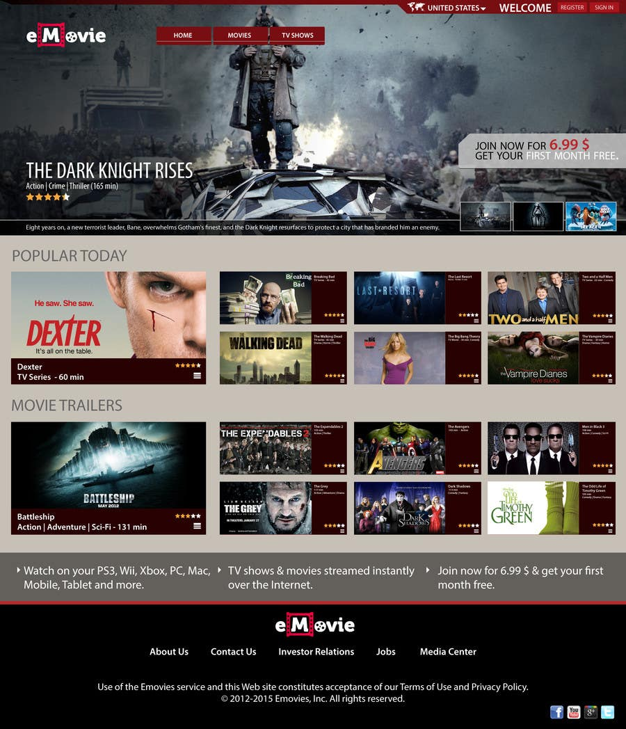 #25 for Website Design for eMovie - Online Movie Streaming by heroicwow