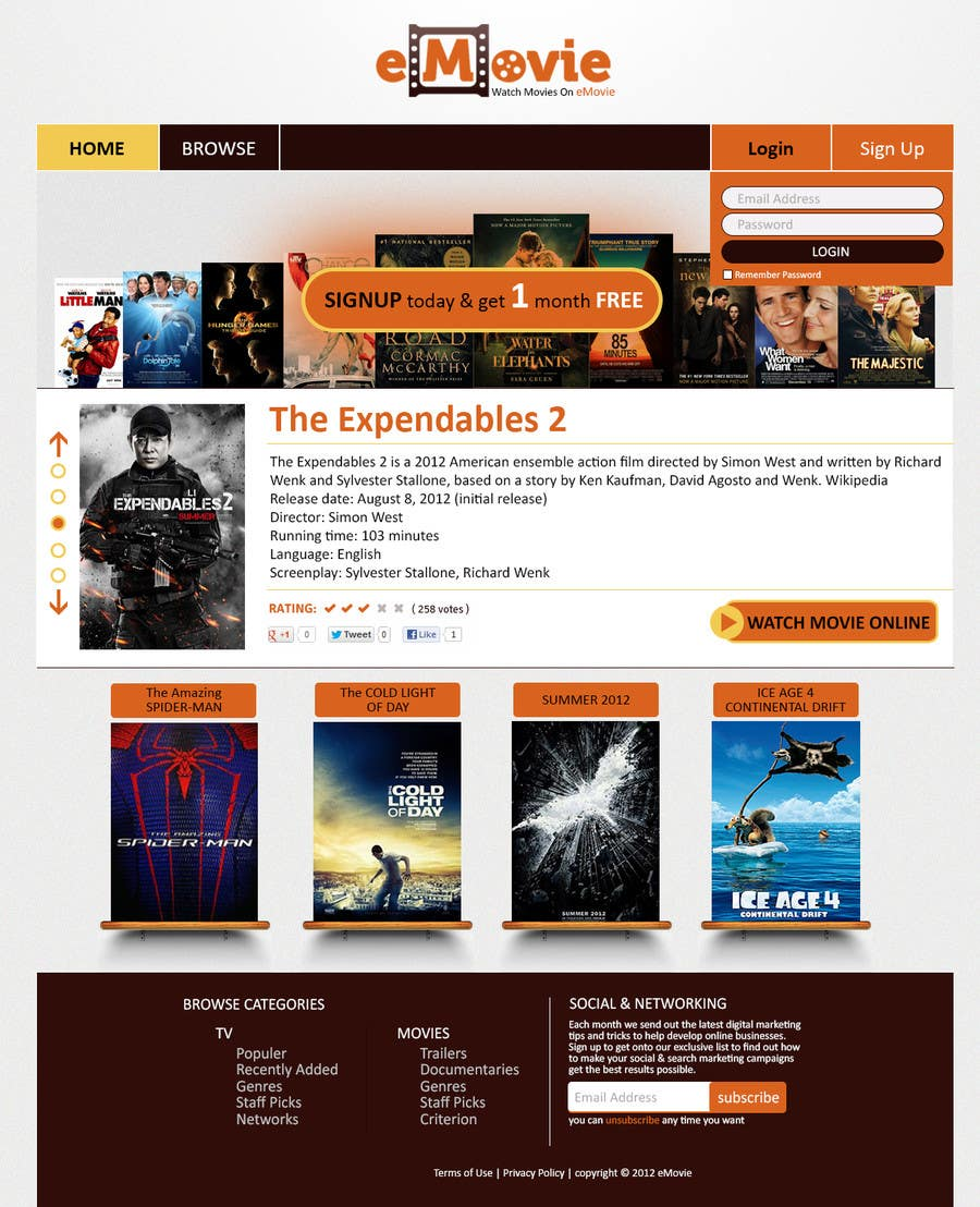 #4 for Website Design for eMovie - Online Movie Streaming by CreativeXperts