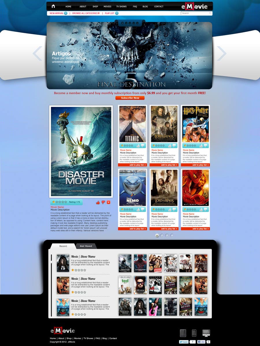#21 for Website Design for eMovie - Online Movie Streaming by ANALYSTEYE