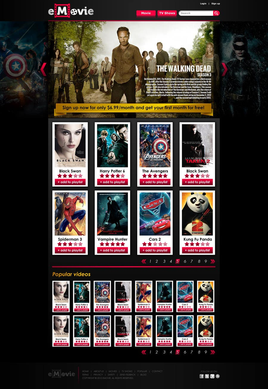 #24 for Website Design for eMovie - Online Movie Streaming by dendrenal