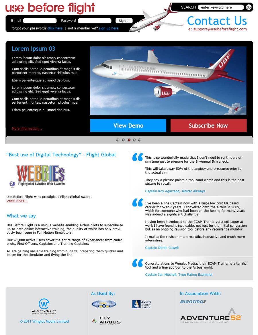 Contest Entry #                                        29                                      for                                         Website Design for Use Before Flight