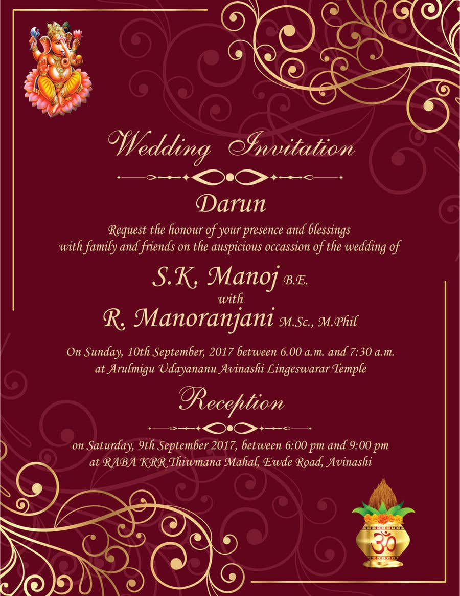 Entry #8 by GurpreetKaur17 for Design a south Indian marriage ...