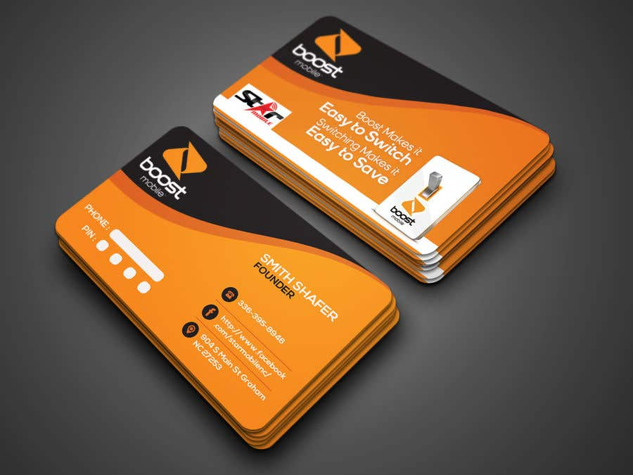 Entry #24 by munnaaziz02 for Boost Mobile Business Card | Freelancer