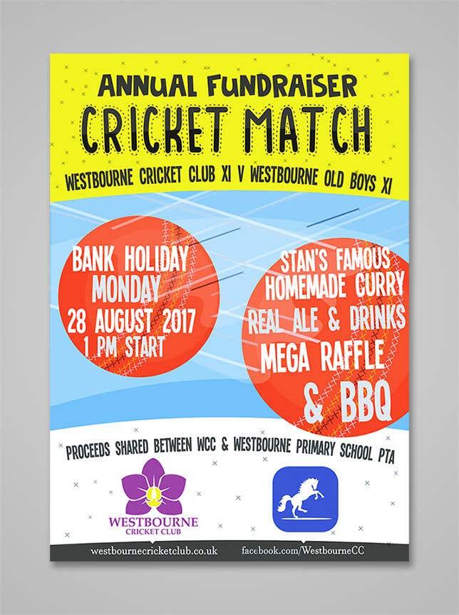 """Intrarea #29 pentru concursul """"Fundraiser Poster Design for Print - Cricket!"""""""
