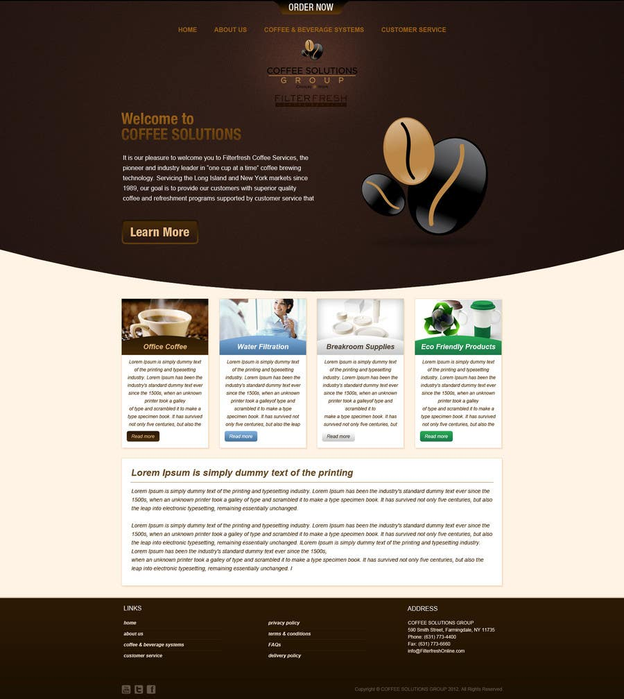 Proposition n°                                        22                                      du concours                                         Website Design for Coffee Solutions Group