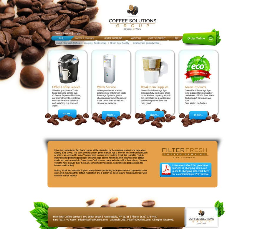 Proposition n°                                        74                                      du concours                                         Website Design for Coffee Solutions Group