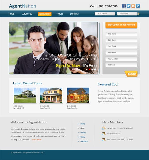 Contest Entry #32 for ReDesign for AgentNation.com - Interactive, social, marketing site for Real Estate Pros!