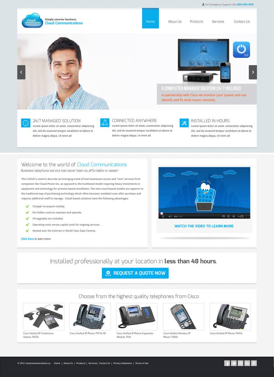 Kilpailutyö #80 kilpailussa Wordpress Theme Design for Cloud-Phone Inc.