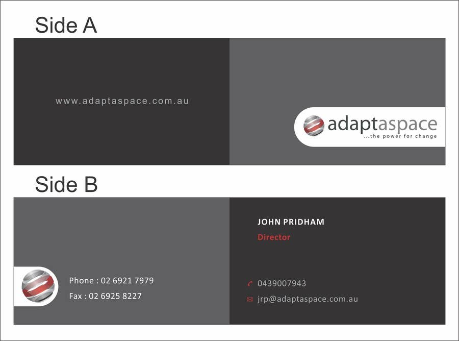 Konkurrenceindlæg #                                        3                                      for                                         Business Card for adaptaspace