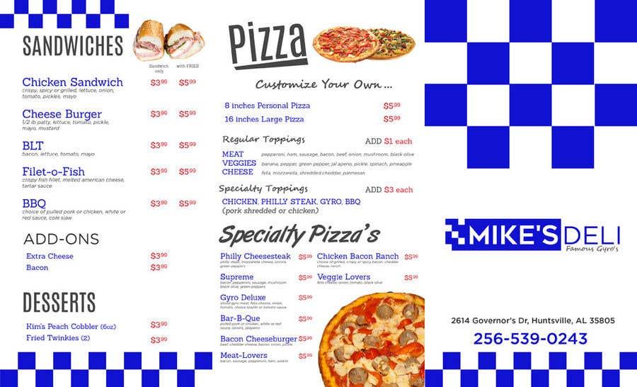 entry 19 by jhess31 for design a tri fold digital menu for deli