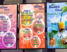 Nro 12 kilpailuun design graphics for a Bubble tea menu along with grand opening promotional graphics käyttäjältä LeeLooRussia