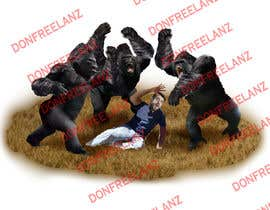 "#2 untuk 2 Drawings of a fight between a ""regular guy"" and three ""800 pound gorillas"" oleh donfreelanz"