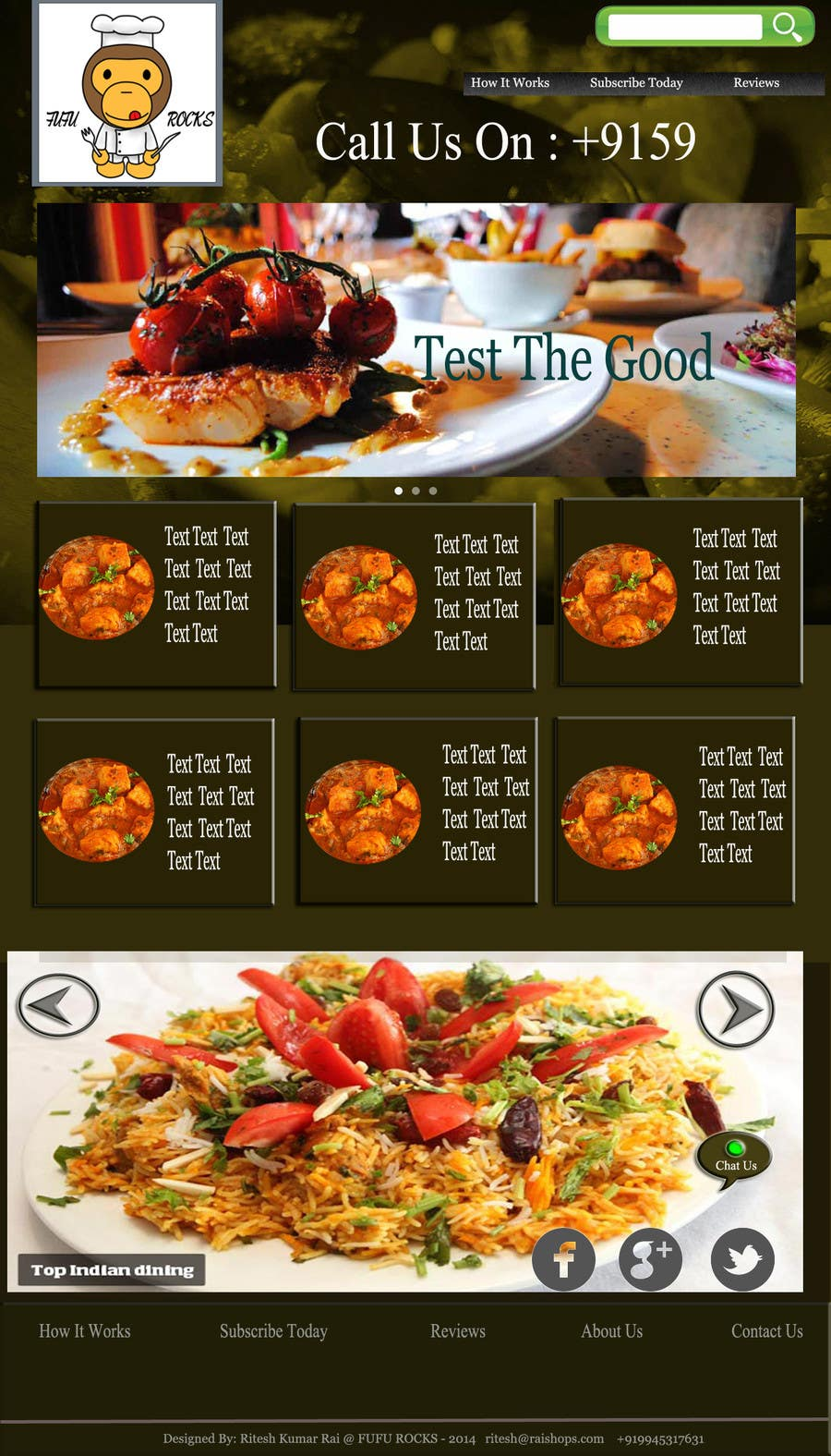Entry 36 By Ritesh9835 For Design A Website Template For Restaurant