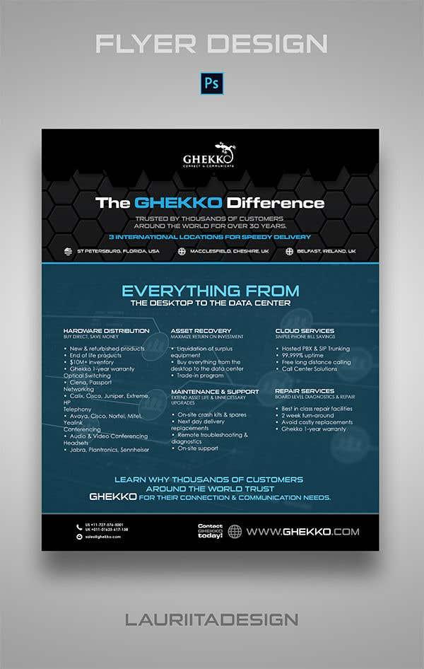Inscrição nº 71 do Concurso para Design a one page sales brochure for Ghekko - a technology company