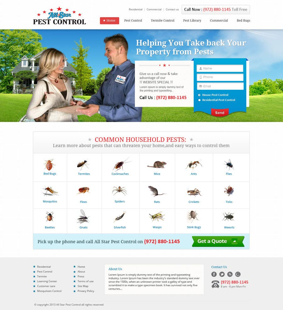 Entry 10 By Iplayers For Website Design For All Star Pest Control