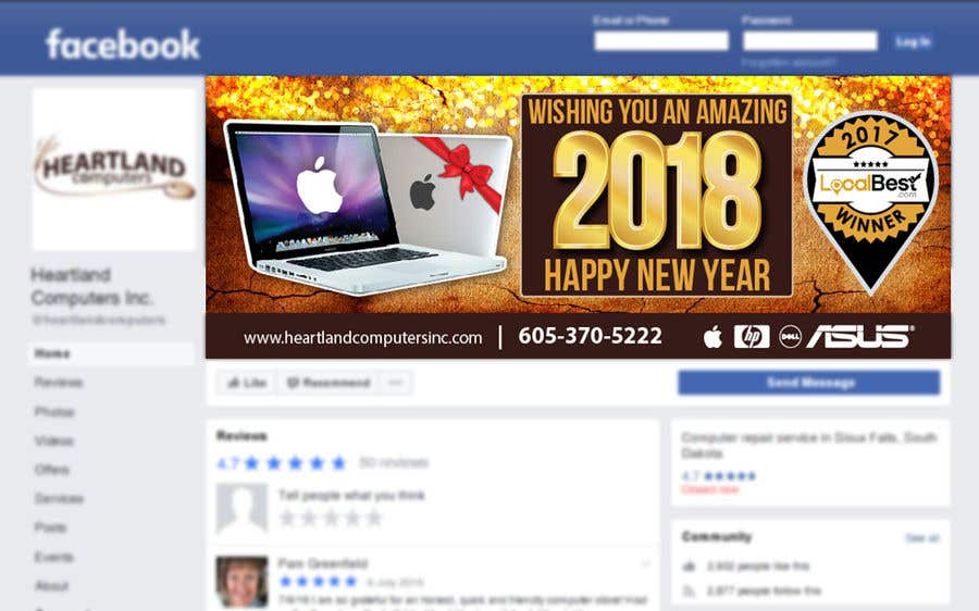 Contest Entry #76 for Design 2018 New Year Facebook Cover Page