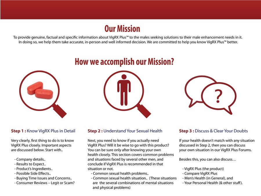 """Kilpailutyö #                                        16                                      kilpailussa                                         Graphic Design for """"how we accomplish our mission"""" of www.knowvigrxplusbetter.com"""