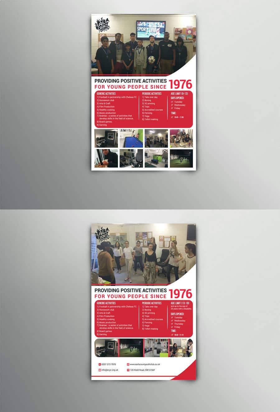 Kilpailutyö #29 kilpailussa Design 2 double sided flyers to advertise a youth centre.