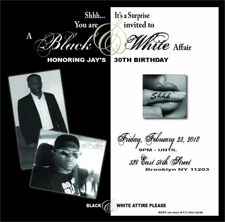 Entry #2 by yamcee1526 for Black & White Birthday Invitation ...