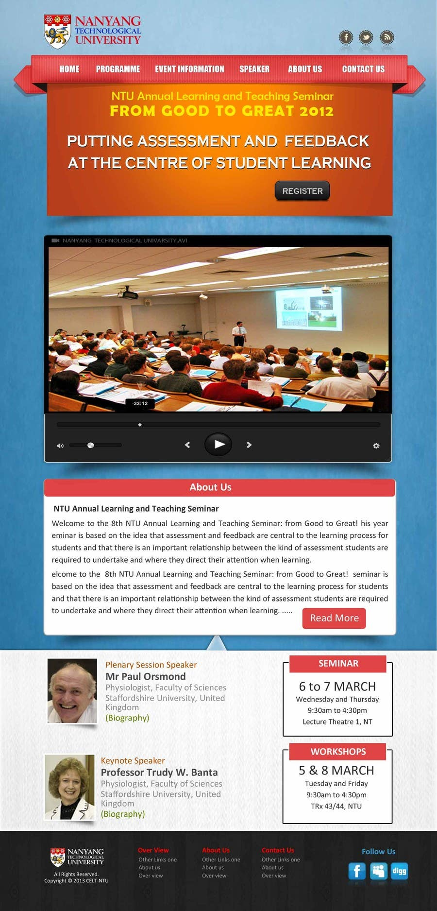 """#52 for Website Design for Seminar: """"Putting Assessment and Feedback at the Center of Student Learning"""" by logitac"""