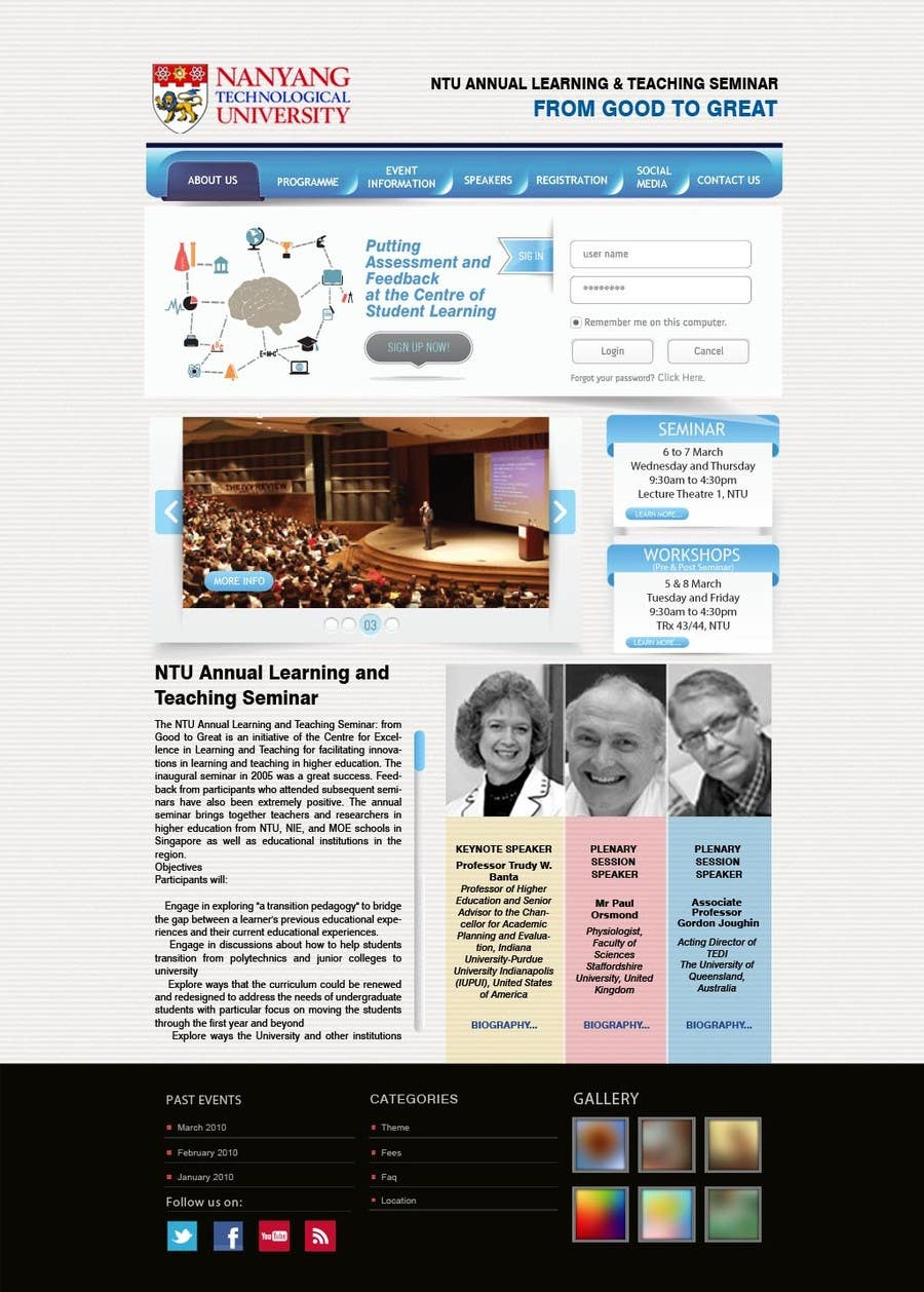 "Inscrição nº 47 do Concurso para Website Design for Seminar: ""Putting Assessment and Feedback at the Center of Student Learning"""