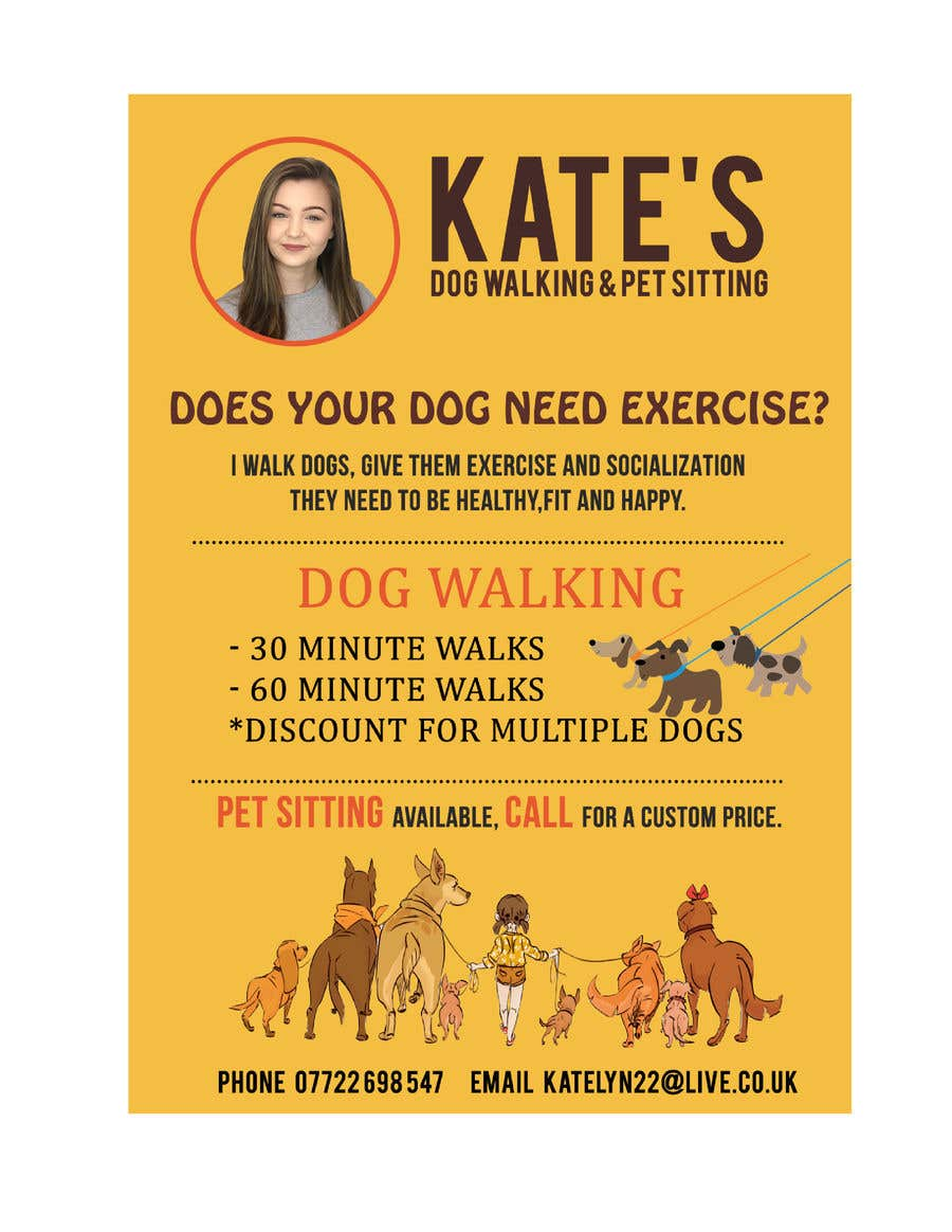 contest entry 13 for design my dog walking flyer