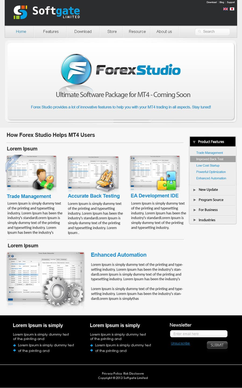 Kilpailutyö #                                        30                                      kilpailussa                                         Website Design for Forex Studio product page