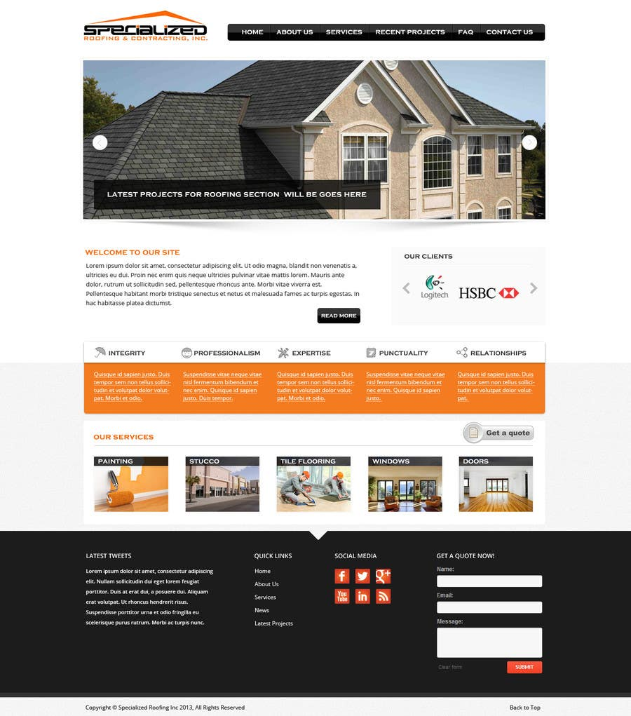 Bài tham dự cuộc thi #                                        4                                      cho                                         Wordpress Theme Design for Specialized Roofing & Contracting Inc.
