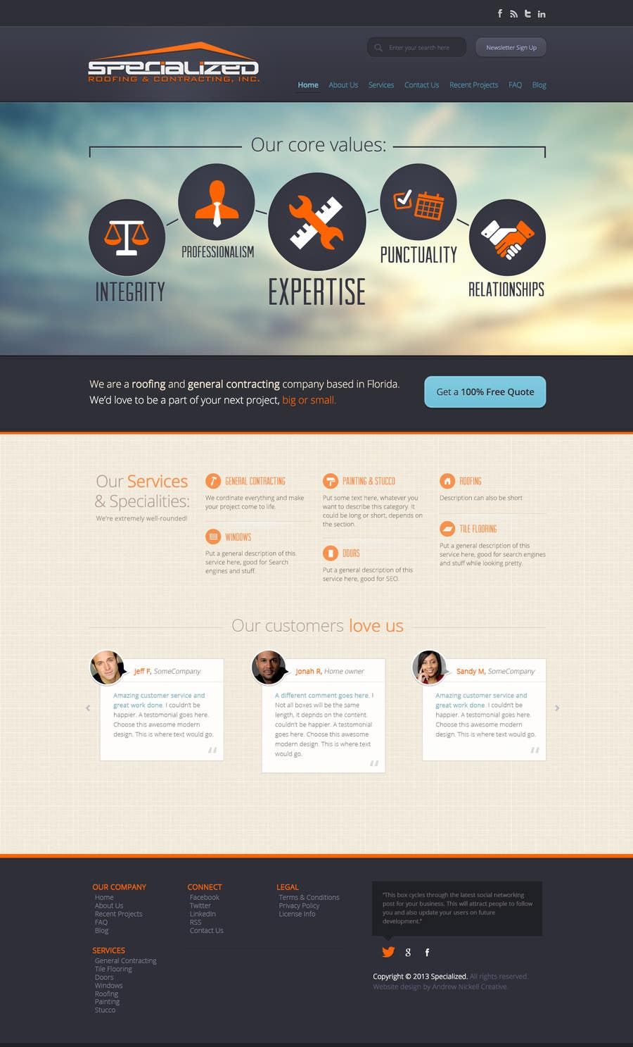 Bài tham dự cuộc thi #                                        3                                      cho                                         Wordpress Theme Design for Specialized Roofing & Contracting Inc.
