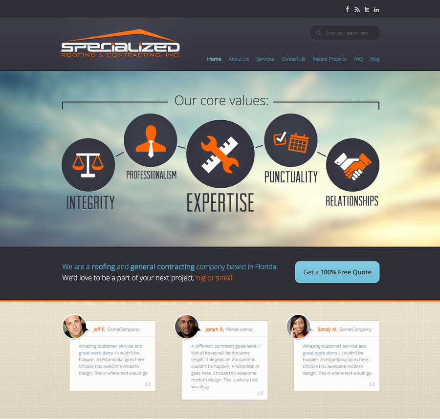 Inscrição nº                                         1                                      do Concurso para                                         Wordpress Theme Design for Specialized Roofing & Contracting Inc.